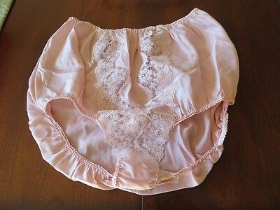 NWOT Vintage BARBIZON Debbie Satin Remarque Pink Lace High Waist Panties XL