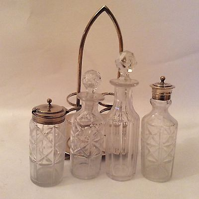 Silver Plate & Cut Glass/Crystal  Four Piece Cruets Caster Set