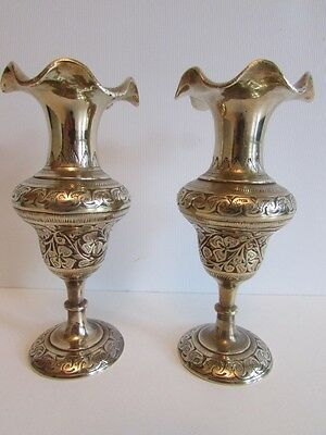 Vintage Pair Of Fluted Brass British India Vases