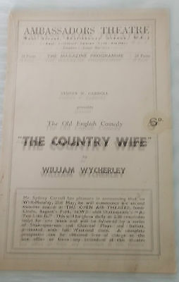 THE COUNTRY WIFE.  Ambassadors Theatre, London.  Original 1930s programme