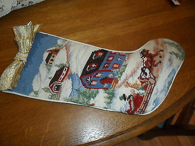 VINTAGE NEEDLEPOINT CHRISTMAS STOCKING w HOUSES HORSE /CUTTER -Reduce Shipping