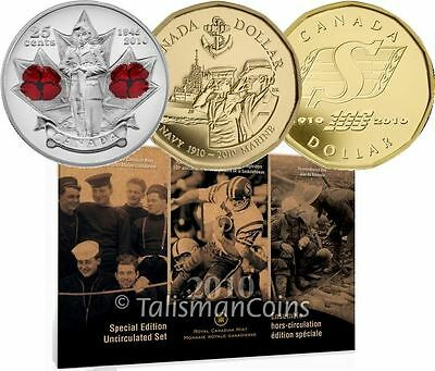 Canada 2010 8 Coin Special Edition Mint Uncirculated Set Poppy Roughriders Navy