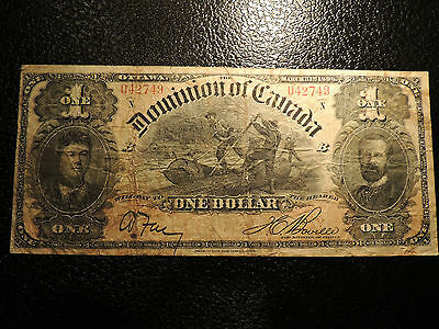 1898 DOMINION OF CANADA $ 1 ONE DOLLAR DC-13c BOVILLE 042749 N SERIES