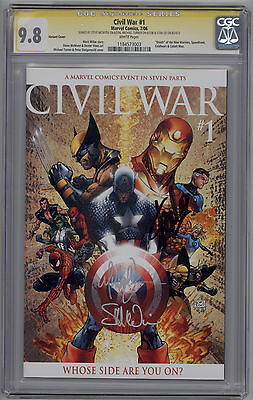 Civil War # 1 CGC SS 9.8 Variant Signed by Michael Turner, Stan Lee & McNiven