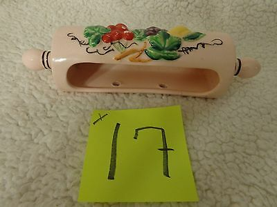Vintage 40's 50's Ceramic Wall Pocket Planter with Fruit Design,rolling pin pink