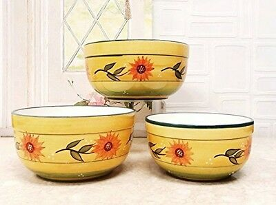 Country Sunflower 3 Piece Mixing Bowl Set