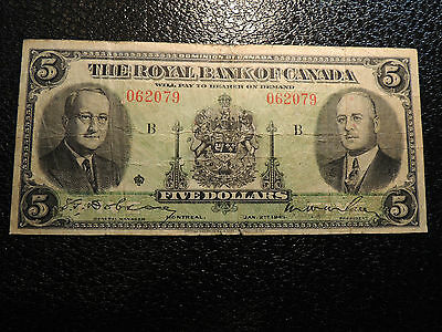 1935 ROYAL BANK OF CANADA $ 5 FIVE DOLLARS 630-18-02a 062079 LARGE SIGNATURES