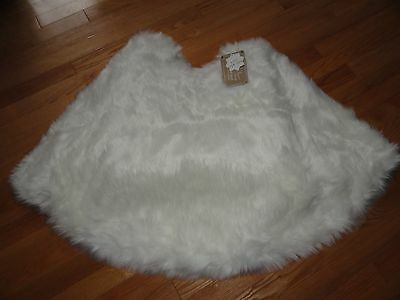 "Nicole Miller Faux Fur Christmas Tree Skirt White 52"" or 60"" Machine Wash NWT"