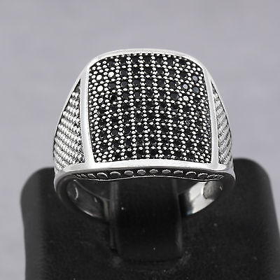 Dotted Pattern Black Zircon Stone 925 REAL Sterling Silver Men's Ring Handmade