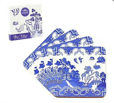 Vintage Design Blue Willow Pattern Set Of 4 Coasters In A Gift Box Wedding Gift