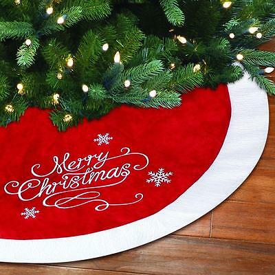 """New 48"""" Christmas Tree Skirt Embroidered Red Velvet Christmas Tree Skirt"""