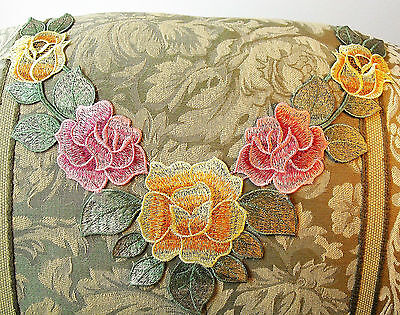 Large Flower & Leaf Applique Pink Yellow Satiny Rose Neckline Embroidery