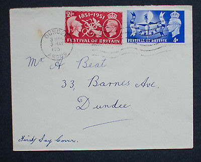 GB FDC 1951 KGVI Festival of Britain Set on Plain Cover with Dundee Cancel