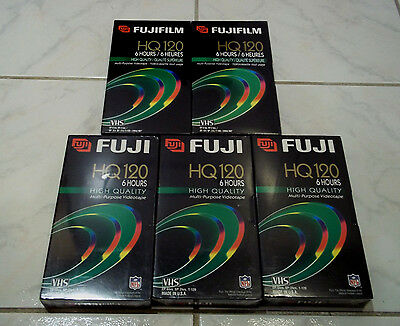 5 New FujiFilm T-120 Blank VHS VCR Video Cassette Tape 6 Hours HQ