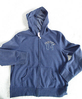"""Justice Girls Navy Blue Zip Up  Hooded Jacket size 18 - """"04"""" - SmokeFree - EUC"""