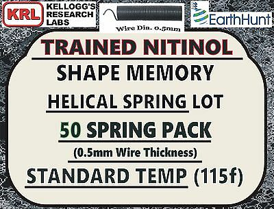 "50x Lot NITINOL HELICAL SPRINGS (1""x 0.5mm) Standard Temp 115f Shape Memory NiTi"