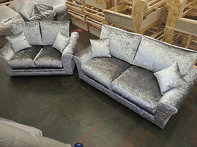 Glitz Formal Back Crushed Velvet 3&2 Seater Sofas( Silver )Many Colours