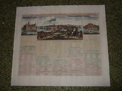 1719,l-Map/views Of Stockholm,sweden,sverige,panorama,palaces,swed.government