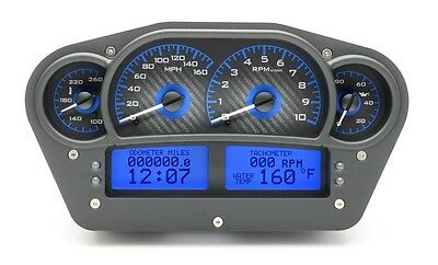 Dakota Digital Universal Competition Carbon Fiber & Blue Analog Gauge Dash Kit