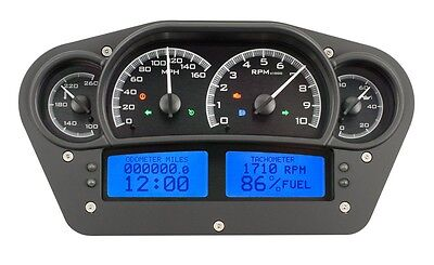 Dakota Digital Universal Competition Black Alloy & Blue Analog Gauge Dash Kit