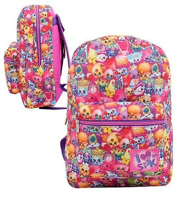 "New Arrive Shopkins Allover Print Girl's 16"" Canvas Pink School Backpack"