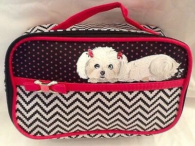 ❤️Maltese Dog Hand Painted Makeup Cosmetic Travel Handbag artbyuta