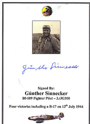 WWII Luftwaffe Bf-109 Fighter Pilot Card/Bookplate - SIGNED Sinnecker (4V- B-17)