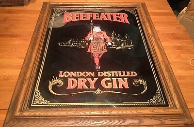 Vintage Beefeater London Distilled Dry Gin Wall Decor Mirror Plastic Frame Bar