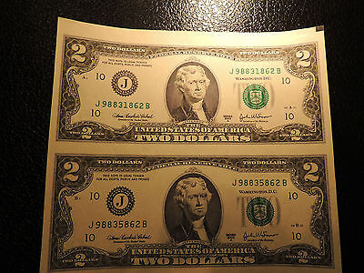 2003A United States Federal Reserve Note $2 Two Dollars Kansas City J 98831862 B