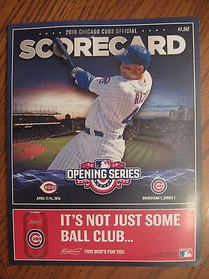2016 Opening Day Scorecard Wrigley Field Chicago Cubs World Series Champions