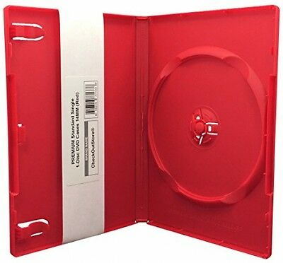 (10) CheckOutStore PREMIUM Standard Single 1-Disc DVD Cases 14mm (Red)