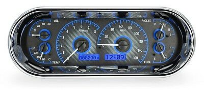 Dakota Digital Universal Recessed Oval Carbon Fiber & Blue Analog Gauge Dash Kit