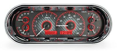 Dakota Digital Universal VHX Oval Carbon Fiber & Red Analog Gauge Dash Kit