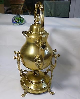 Vtg collectable Brass Teapot with warmer stand Kettle+oil warmer base H32cm