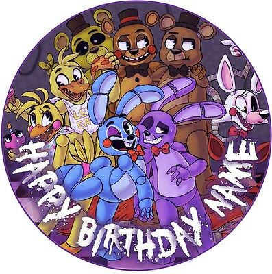 EDIBLE FNAF purple Cake Topper Birthday Party Wafer Paper 19cm (uncut)