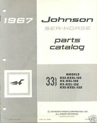 1967 Johnson 33 HP RXE RXEL 15c 15s RX RXL 15s 15c Outboard Parts Catalog