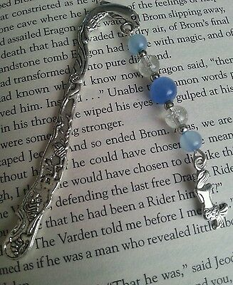 Silver Dolphin Book Mark with Mermaid Charm & Blue Glass Beads. Books. Gift