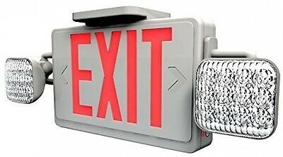 Ciata Lighting LED Red Exit Sign and Emergency Light Combo With Battery Backup