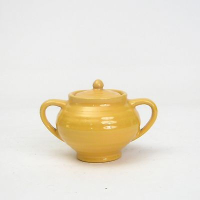 Vintage Bauer Pottery USA Ring Ware Yellow Demitasse Small Sugar Bowl with Lid