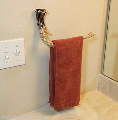 New In Box - Faux Whitetail Deer Antler Hand Towel Holder Wall Mount