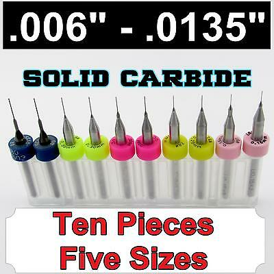 "Two Pieces Each Size .006"" .008"" .010"" .012"" .0135"" - Solid Carbide Drills S1"