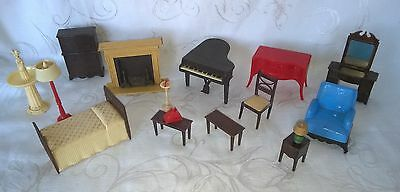 Vintage Plastic Renwal Dollhouse Furniture Living Room Bedroom Lot $19.99