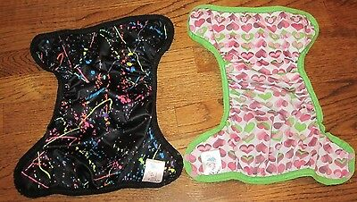 Set of Two Cloth FLUFFYS Adjustable Diapers (1 Pink Green Hearts/ 1 Black )