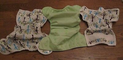Set of Three Cloth Adjustable Diapers (2 Thirsties Trees) 1 Green (Flip)