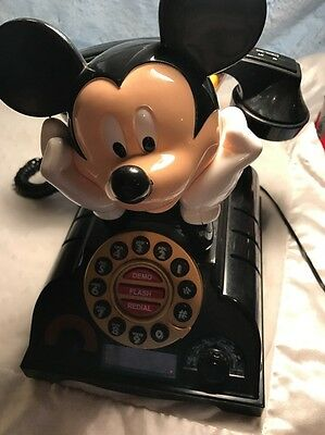 Vintage 1977 TELEMANIA Mickey Mouse Working Desk Telephone Push Button Flaw