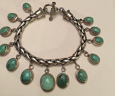 Vintage Sterling Silver Turquoise Toggle Bracelet Braided Charm