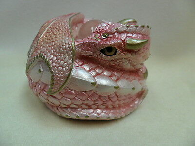 Windstone Editions * DARK Pearly Pink Curled Dragon * Fantasy Figurine Statue