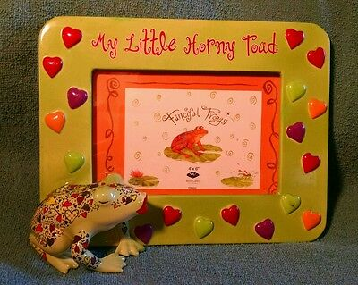 frog picture frame my little horny toad 4X6 ceramic