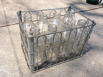 Vintage Milk Crate And Bottles Bordens Dairy 6/64