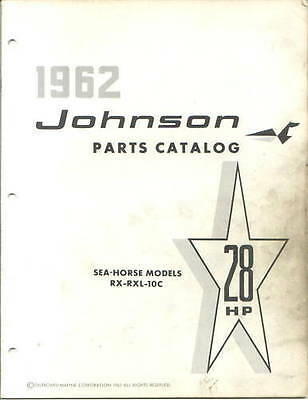 1962 Johnson 28 HP RX RXL 10c Outboard Parts Catalog